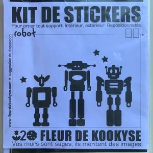 Wall Removable Stickers Set 3 Black Robots New